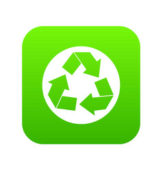 recycle sign icon digital green vector image
