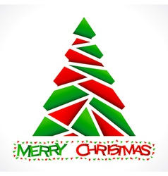 red and green triangle make christmas tree design vector image