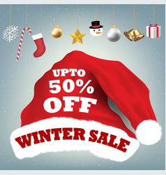 santa claus hat with winter sale 50 percent vector image