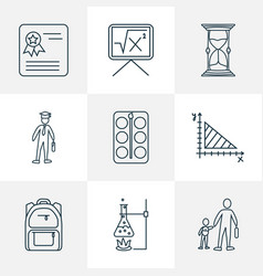 School icons line style set with geometry vector