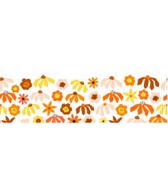 seamless flower border red orange pink vector image