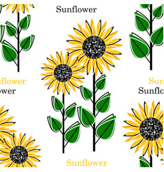 seamless pattern with bright sun flowers vector image