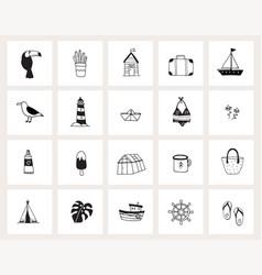 set hand drawn doodle web icons line art vector image