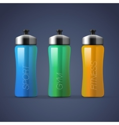 Set of blank colorful sports bottles for water vector