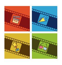 set of cimena cards cartoons vector image