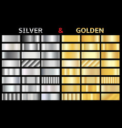 Set of gold and silver gradients vector