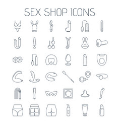 sex shop line icons isolated on white background vector image