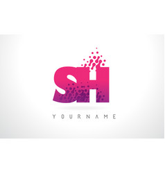 sh s h letter logo with pink purple color and vector image