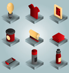 silk-skreen color gradient isometric icons vector image