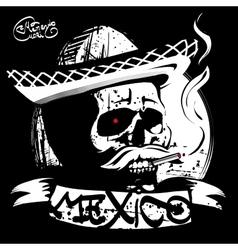 Skull in a sombrero print T-shirt vector