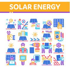 Solar energy technicians collection icons set vector