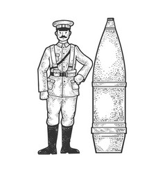 soldier and huge cannon shell sketch vector image