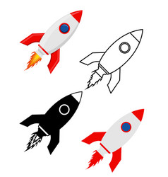 space rocket retro spaceship set flat icons vector image vector image