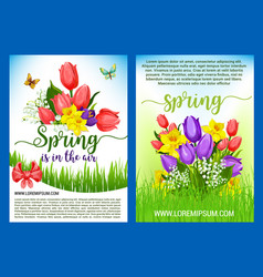 Spring flowers bouquets greeting posters vector