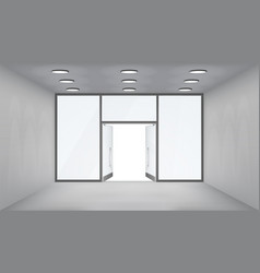 store interior open doors 3d shop empty space vector image