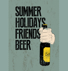 Summer beer typographic retro grunge poster vector