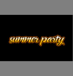 Summer party word text banner postcard logo icon vector