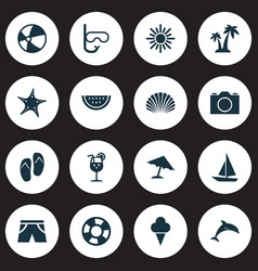 Sun icons set collection of melon mammal star vector