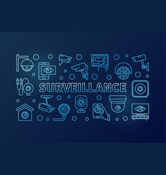 surveillance blue horizontal linear vector image