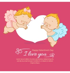 Valentines Day greeting card with two angels vector image