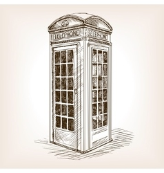 Vintage phone booth sketch vector image