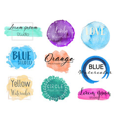 watercolor logo set vector image