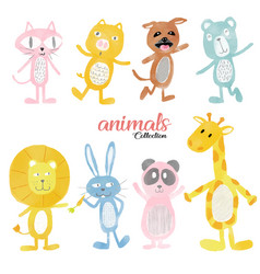 Watercolour cute wild animals set vector