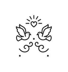 wedding doves birds icons valentines day love vector image