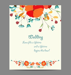 Wedding invitation card with abstract floral vector image