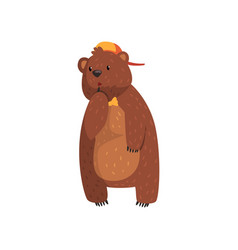 wild bear with pensive face expression cartoon vector image