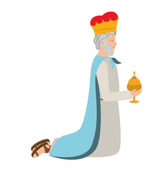 Wise man down on my knees manger character vector