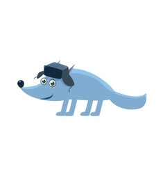 Wolf Wearing Hat With Ear Flaps vector