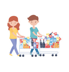 Woman and man shopping with carts and products vector