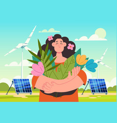 woman character holding flowers and breathing vector image