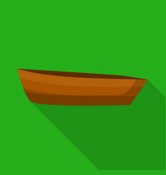 Wood boat icon flat style vector