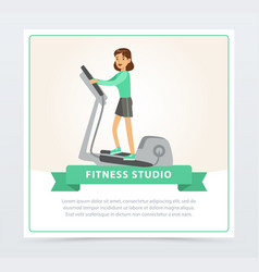 Young woman working out using elliptical trainer vector