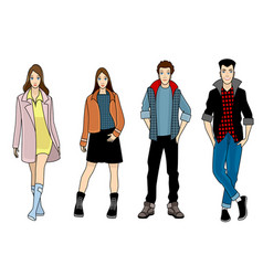 four fashionable teenagers vector image vector image