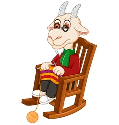 funny goat cartoon knitting on a rocking chair vector image vector image