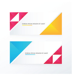 pink yellow blue triangle banner vector image