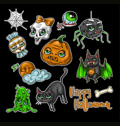 set of halloween element patches vector image vector image