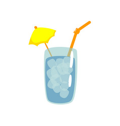 blue cocktail with straw and umbrella cartoon vector image vector image