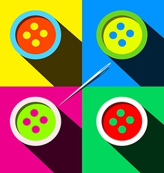 Buttons - Flat Design Long Shadow Pop Art Style vector image