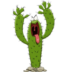 evil cactus vector image vector image