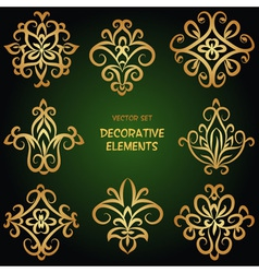Golden decorative ethnic elements vector image