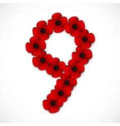 poppies number nine vector image