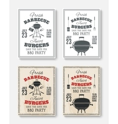Set of four vintage barbecue party posters vector image vector image