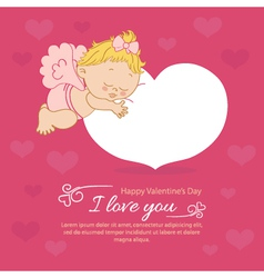 Valentines Day with an angel greeting card vector image vector image