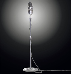 Vintage microphone isolated on black background vector image vector image