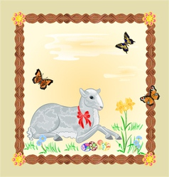 Easter lamb and daffodil Easter frame vector image