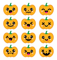 Halloween Kawaii cute pumpkin icons - vector image vector image